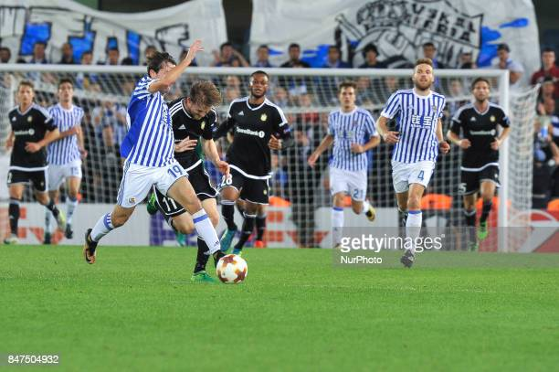 Alvaro Odriozola of Real Sociedad duels for the ball with YannErik de Lanlay of Rosenborg BK during the UEFA Europa League Group L football match...