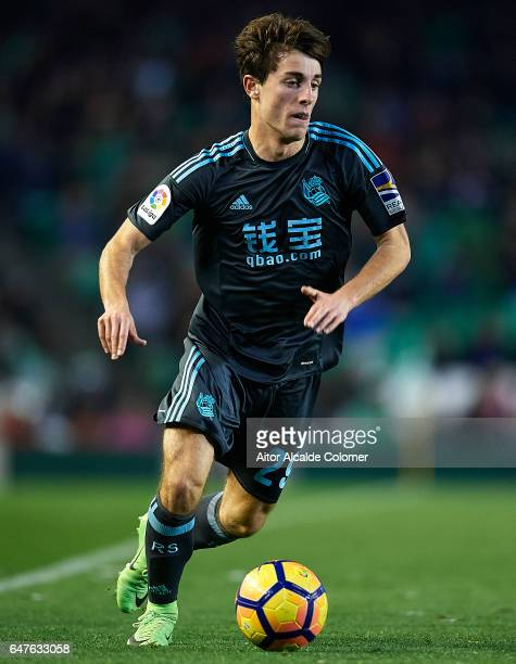 Alvaro Odriozola of Real Sociedad in action during La Liga match between Real Betis Balompie and Real Sociedad de Futbol at Benito Villamarin Stadium...