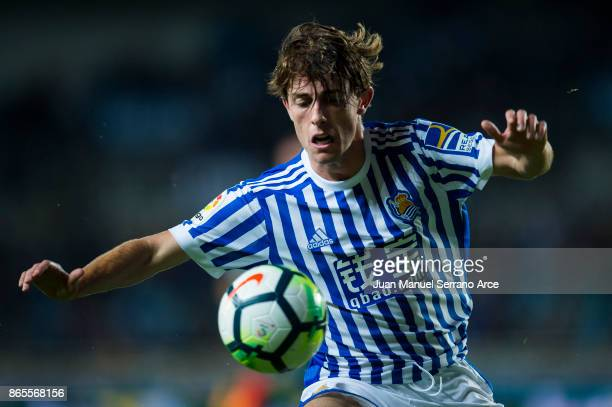 Alvaro Odriozola of Real Sociedad reacts during the La Liga match between Real Sociedad de Futbol and RCD Espanyol at Estadio Anoeta on October 23...