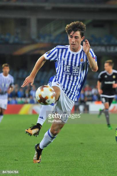 Alvaro Odriozola of Real Sociedad tries to controls the ball during the UEFA Europa League Group L football match between Real Sociedad and Rosenborg...