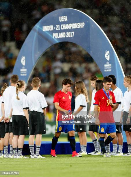 Alvaro Odriozola of Spain looks dejected after the UEFA European Under21 Championship Final between Germany and Spain at Krakow Stadium on June 30...