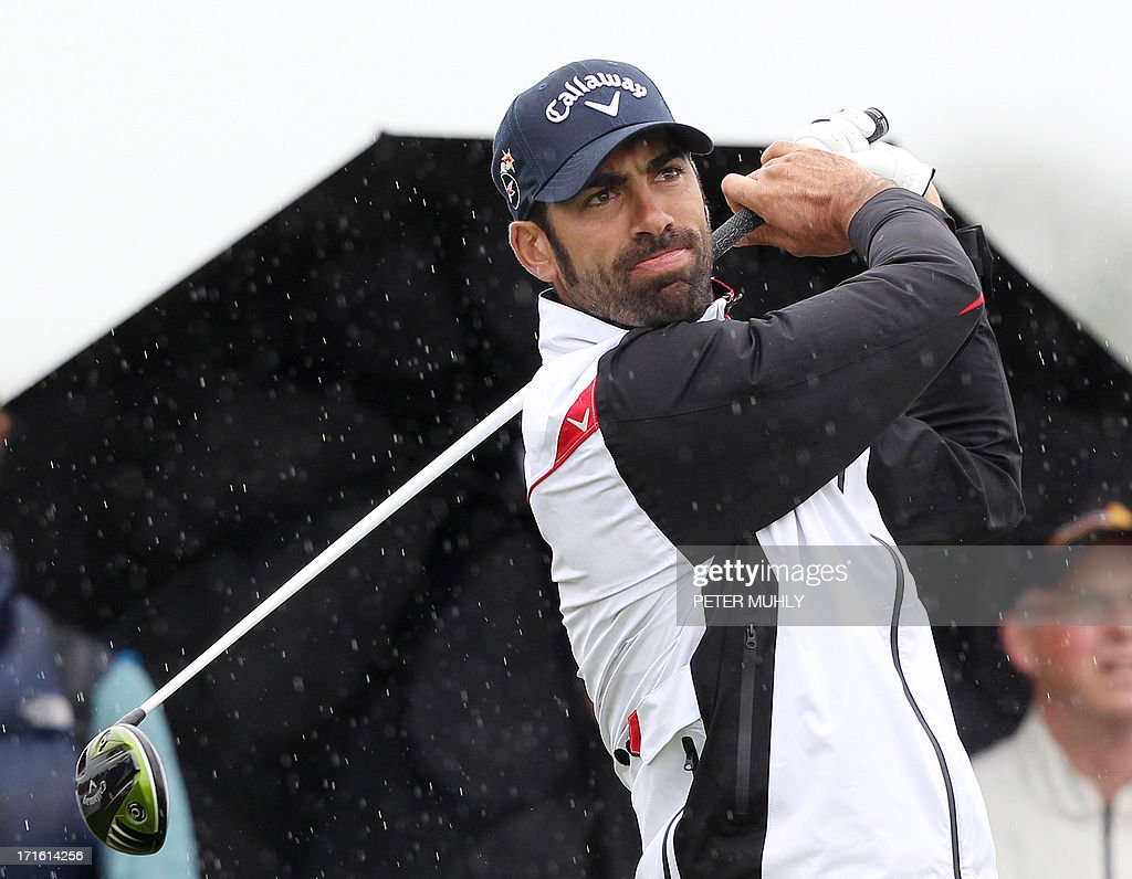 Alvaro Quiros from Spain looks on after teeing off on the fourth hole during the first round of the Irish Open golf championship at Carton House Golf Club, Maynooth, Ireland on June 27, 2013.