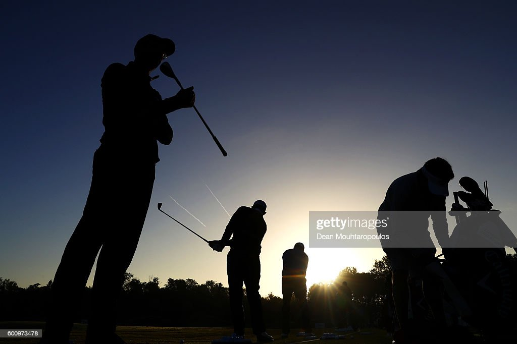 Alvaro Quiros of Spain and Pablo Larrazabal of Spain on the practice range before the second round on day two of the KLM Open at The Dutch on September 9, 2016 in Spijk, Netherlands.