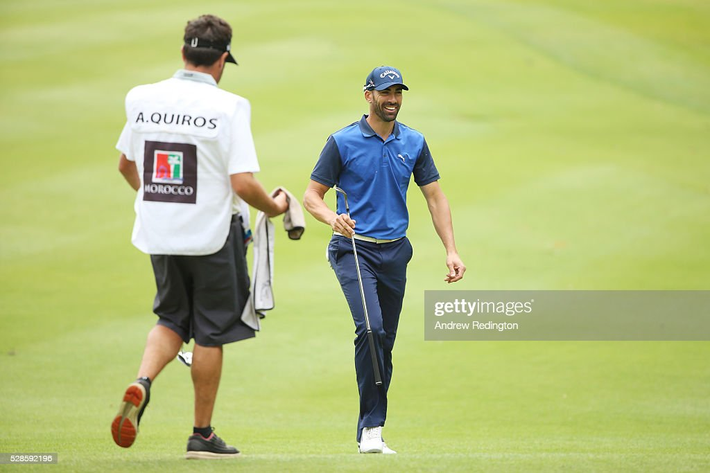 <a gi-track='captionPersonalityLinkClicked' href=/galleries/search?phrase=Alvaro+Quiros&family=editorial&specificpeople=776409 ng-click='$event.stopPropagation()'>Alvaro Quiros</a> of Spain approaches the green on the fourth hole during the second round of the Trophee Hassan II at Royal Golf Dar Es Salam on May 6, 2016 in Rabat, Morocco.