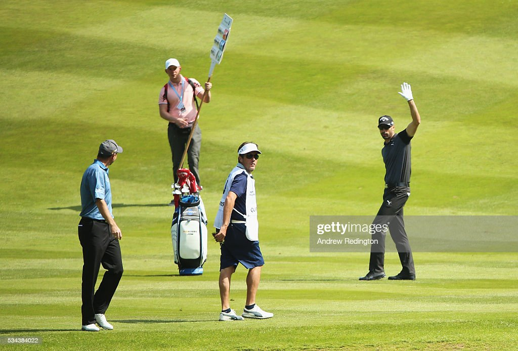 <a gi-track='captionPersonalityLinkClicked' href=/galleries/search?phrase=Alvaro+Quiros&family=editorial&specificpeople=776409 ng-click='$event.stopPropagation()'>Alvaro Quiros</a> of Spain celebrates holing his 2nd shot on the 7th hole during day one of the BMW PGA Championship at Wentworth on May 26, 2016 in Virginia Water, England.