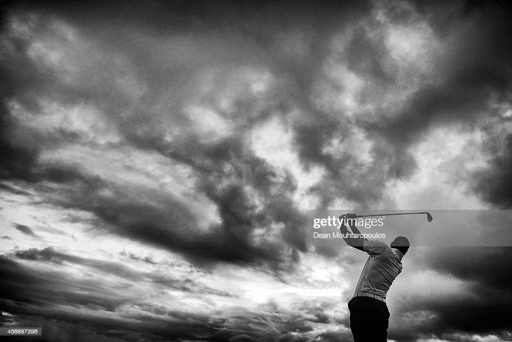 Alvaro Quiros of Spain hits a pracitce shot on the driving range prior to Day 1 of the Portugal Masters held at the Oceanico Victoria Golf Course on...