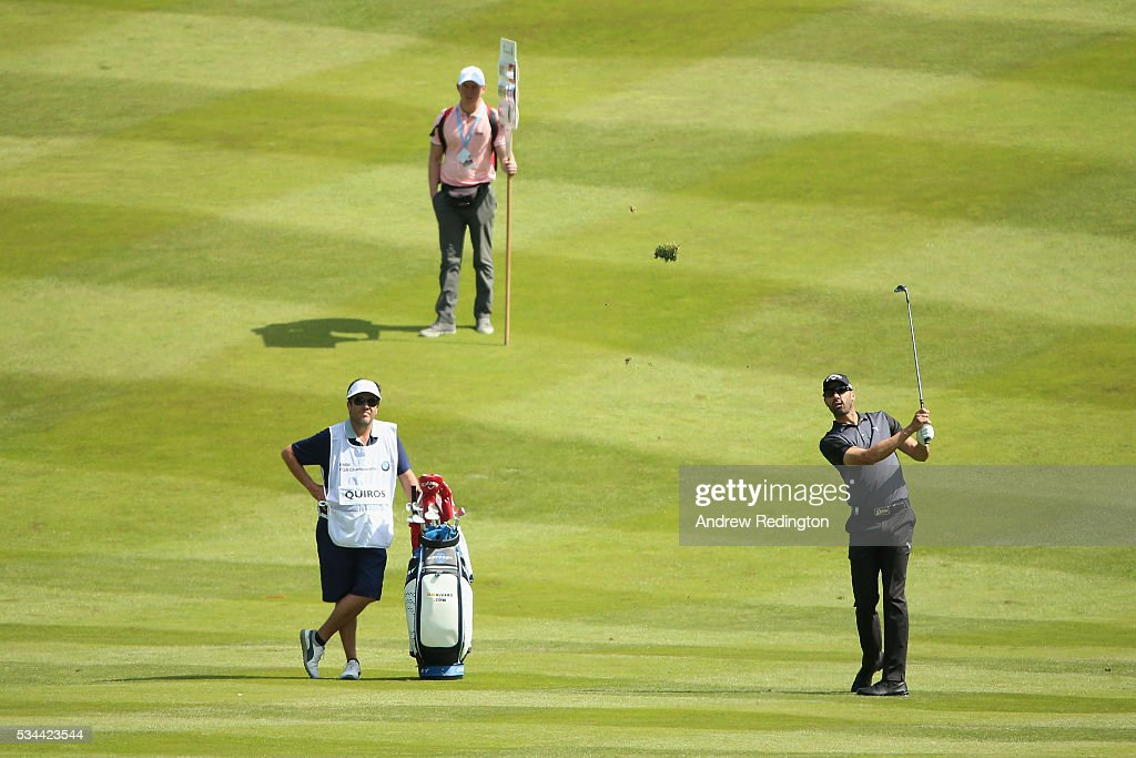 <a gi-track='captionPersonalityLinkClicked' href=/galleries/search?phrase=Alvaro+Quiros&family=editorial&specificpeople=776409 ng-click='$event.stopPropagation()'>Alvaro Quiros</a> of Spain hits an approach shot during day one of the BMW PGA Championship at Wentworth on May 26, 2016 in Virginia Water, England.
