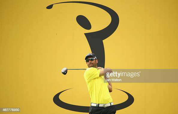 Alvaro Quiros of Spain in action during the first round of the 2015 Maybank Malaysian Open at Kuala Lumpur Golf Country Club on February 5 2015 in...