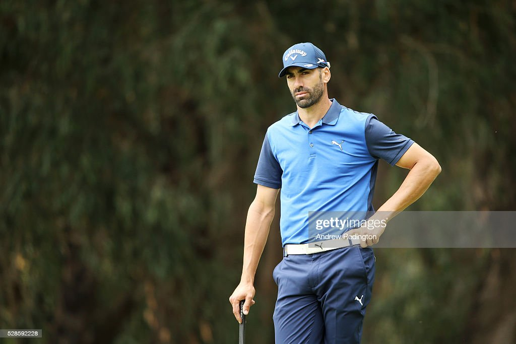<a gi-track='captionPersonalityLinkClicked' href=/galleries/search?phrase=Alvaro+Quiros&family=editorial&specificpeople=776409 ng-click='$event.stopPropagation()'>Alvaro Quiros</a> of Spain looks on whilst playing the fourth hole during the second round of the Trophee Hassan II at Royal Golf Dar Es Salam on May 6, 2016 in Rabat, Morocco.
