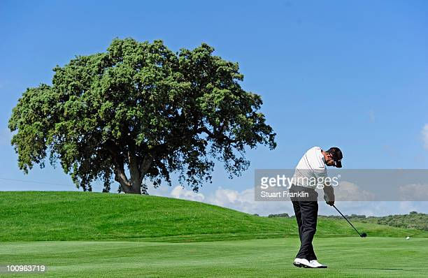 Alvaro Quiros of Spain plays a shot during the ProAm of the Madrid Masters at Real Sociedad hipica Espanola club de campo on May 26 2010 in Madrid...