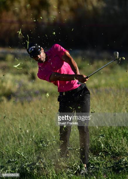 Alvaro Quiros of Spain plays a shot on the 17th hole during the third round of The Rocco Forte Open at The Verdura Golf and Spa Resort on May 20 2017...