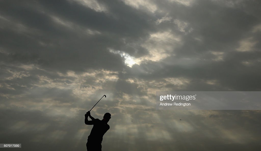 Alvaro Quiros of Spain plays his second shot on the 15th hole during the first round of the Commercial Bank Qatar Masters at Doha Golf Club on January 27, 2016 in Doha, Qatar.