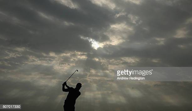 Alvaro Quiros of Spain plays his second shot on the 15th hole during the first round of the Commercial Bank Qatar Masters at Doha Golf Club on...