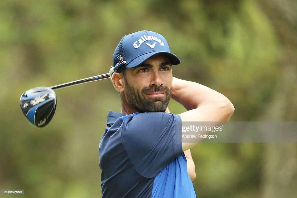Alvaro Quiros of Spain plays his tee shot on the fifth hole during the second round of the Trophee Hassan II at Royal Golf Dar Es Salam on May 6, 2016 in Rabat, Morocco.