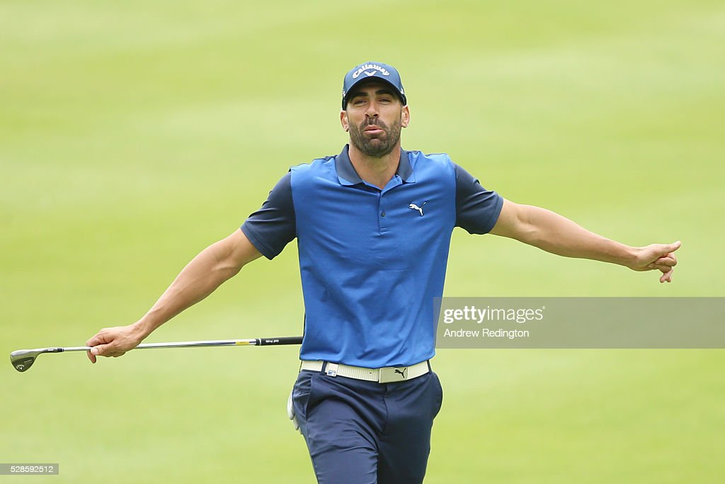 Alvaro Quiros of Spain reacts after playing a shot on the fourth hole during the second round of the Trophee Hassan II at Royal Golf Dar Es Salam on May 6, 2016 in Rabat, Morocco.