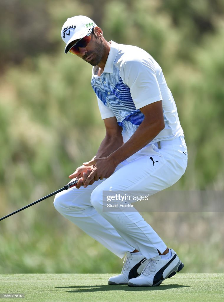 Alvaro Quiros of Spain reacts to a putt on the seventh hole during the final round of The Rocco Forte Open at The Verdura Golf and Spa Resort on May 21, 2017 in Sciacca, Italy.