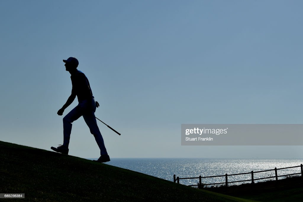 Alvaro Quiros of Spain walks down the 18th hole during the second round of The Rocco Forte Open at The Verdura Golf and Spa Resort on May 19, 2017 in Sciacca, Italy.