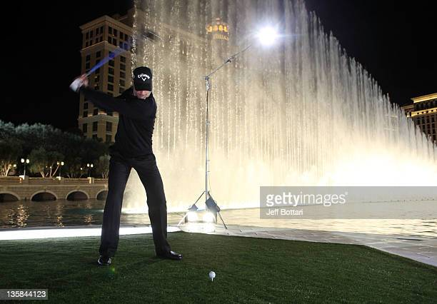 Alvaro Quiros using the recently introduced RAZR Fit Driver launches a ball across the Bellagio Fountain for Callaway Golf's 2012 Epic Demo creative...