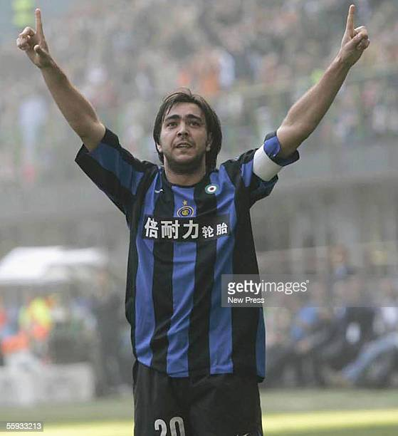 Alvaro Recoba of Inter celebrates a goal during the Seria A match between Inter Milan and Livorno at San Siro Stadium on October 16 2005 in Milan...