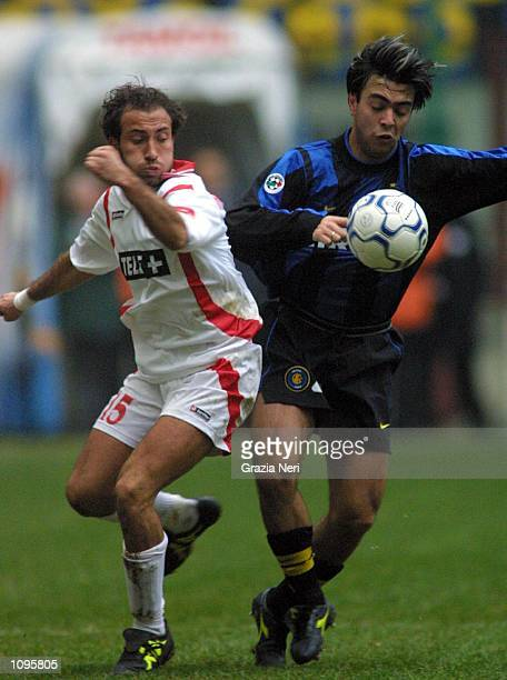 Alvaro Recoba of Inter Milan and Antonio Bellavista of Bari in action during a SERIE A 16th Round League match between Inter and Bari played at the...