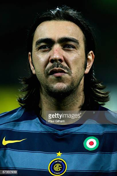 Alvaro Recoba of Inter Milan looks on prior to kick off during the UEFA Champions League Quarter Finals First Leg match between Inter Milan and...