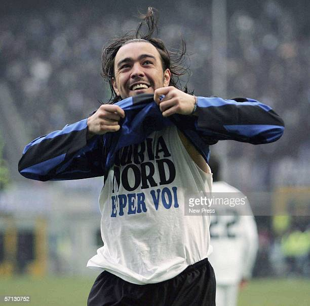 Alvaro Recoba of Milan celebrates a goal during the Serie A match between Inter Milan and Lazio at the Stadio Giuseppe Meazza San Siro on MArch 19...