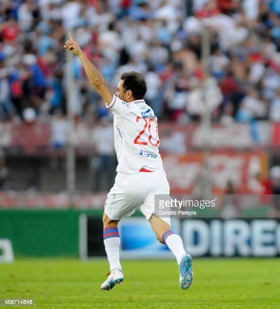 Alvaro Recoba of Nacional celebrates after scoring the second goal during a match between Nacional and Peñarol as part of round 12th of Campeonato...