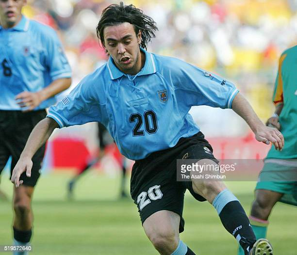 Alvaro Recoba of Uruguay in action during the FIFA World Cup Korea/Japan Group A match between Senegal and Uruguay at the Suwon World Cup Stadium on...