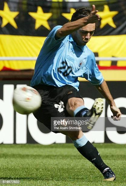 Alvaro Recoba of Uruguay shoots at goal during the FIFA World Cup Korea/Japan Group A match between Senegal and Uruguay at the Suwon World Cup...
