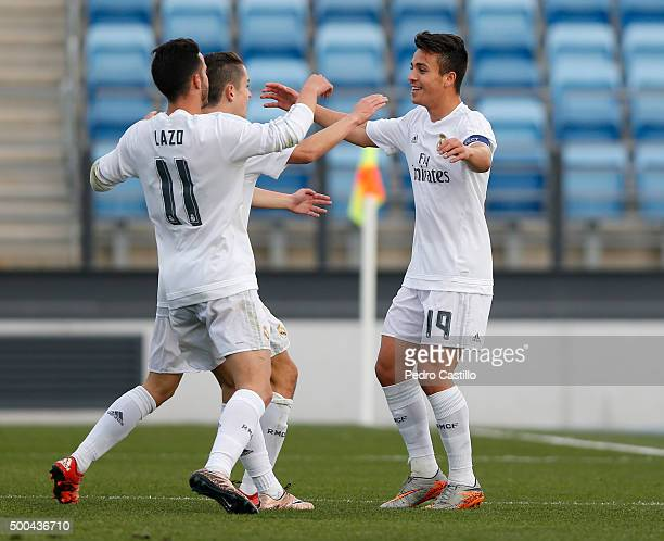 Alvaro Rivero of Real Madrid celebrates after scoring with his teammates during the UEFA Youth League match between Real Madrid and Malmo FF at...