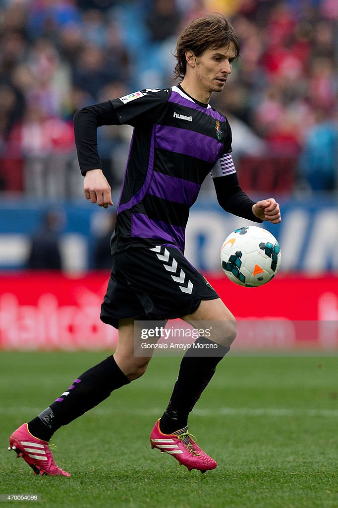 Alvaro Rubio of Real Valladolid CF controls the ball during the La Liga match between Club Atletico de Madrid and Real Valladolid CF at Vicente Calderon Stadium on February 15, 2014 in Madrid, Spain.