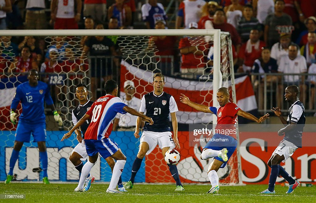 <a gi-track='captionPersonalityLinkClicked' href=/galleries/search?phrase=Alvaro+Saborio&family=editorial&specificpeople=554699 ng-click='$event.stopPropagation()'>Alvaro Saborio</a> #9 of Costa Rica takes a shot late in the second half against the United States during the CONCACAF Gold Cup match at Rentschler Field on July 16, 2013 in East Hartford, Connecticut.
