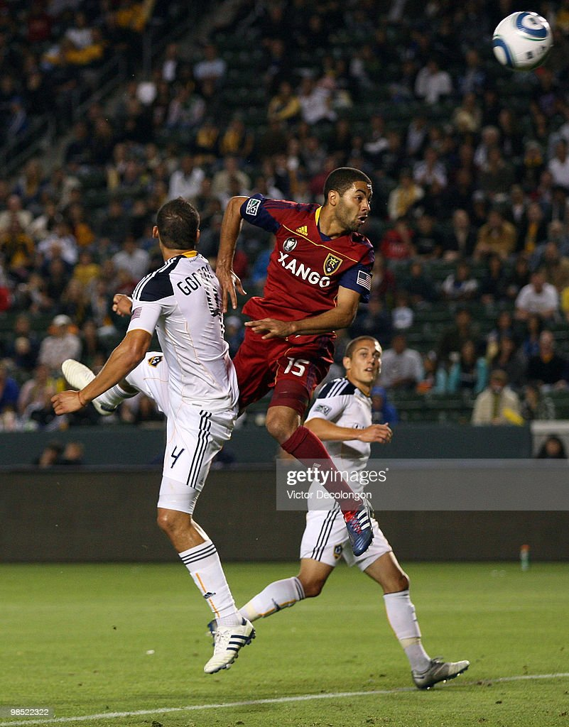 Alvaro Saborio #15 of Real Salt Lake heads the ball high over the net over Omar Gonzalez #4 of the Los Angeles Galaxy in the second half of their MLS match at the Home Depot Center on April 17, 2010 in Carson, California. The Galaxy defeated Real Salt Lake 2-1.