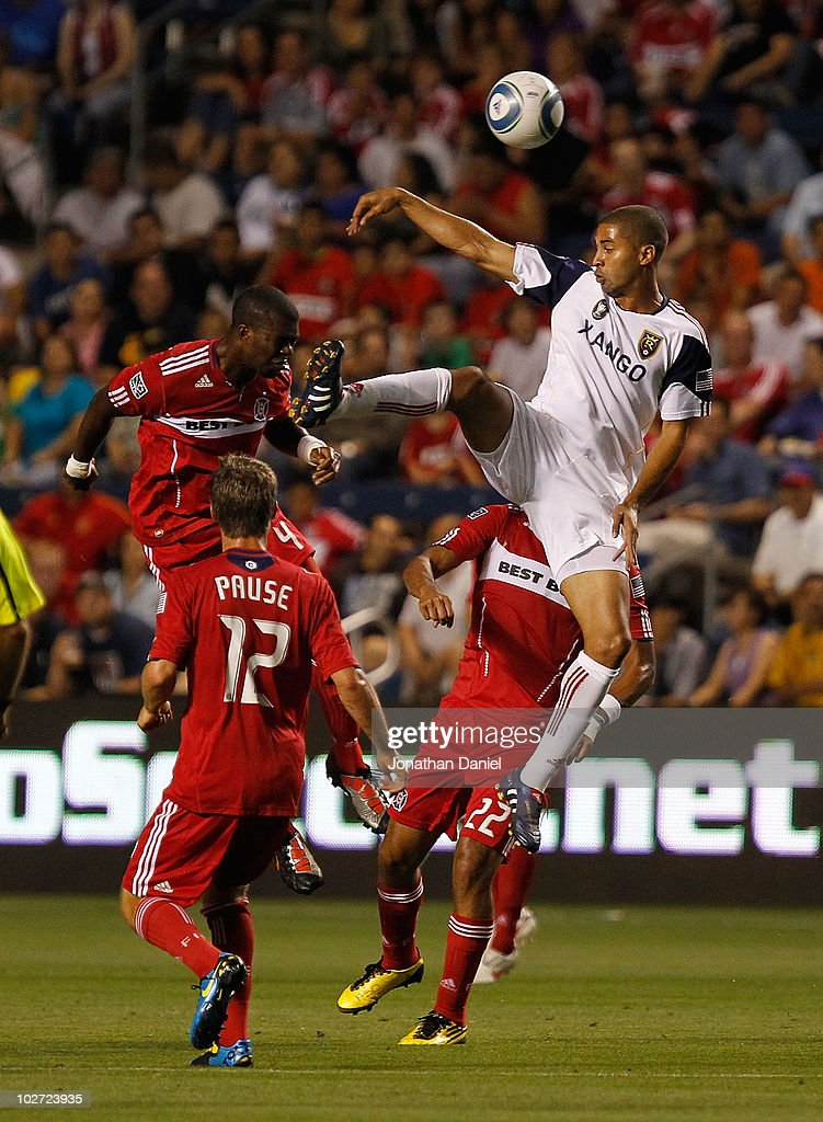 Alvaro Saborio #15 of Real Salt Lake leaps for a header over (L-R) Kwame Watson-Siriboe #4, Logan Pause #12 and Wilman Conde #22 of the Chicago Fire in an MLS match on July 8, 2010 at Toyota Park in Bridgeview, Illinois.