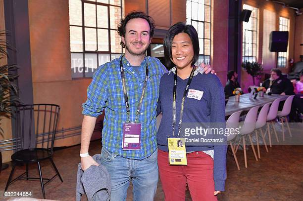 Alvaro Saracho and Sundance Institute Film Fund Assistant Betsy Tsai attend the DFP Reception during day 2 of the 2017 Sundance Film Festival at The...