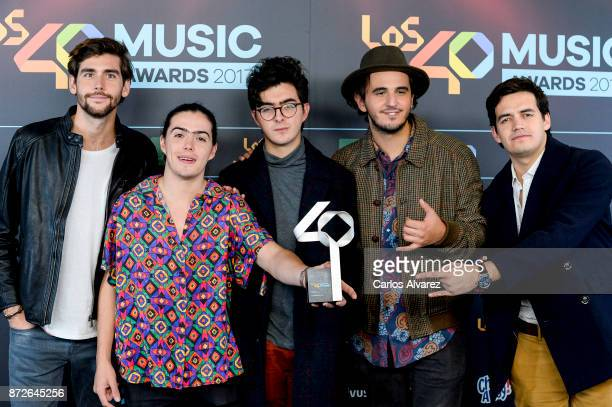 Alvaro Soler and the music band Morat attend the 40 Music Awards press room at WiZink Center on November 10 2017 in Madrid Spain