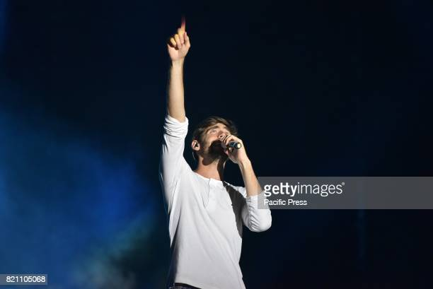 Alvaro Soler Spanish Latin pop musician performs on stage at Arena Flegrea in Napoli for his Summer Tour 2017