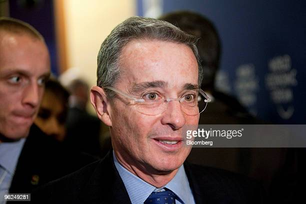 Alvaro Uribe president of Colombia attends day two of the 2010 World Economic Forum annual meeting in Davos Switzerland on Thursday Jan 28 2010 The...