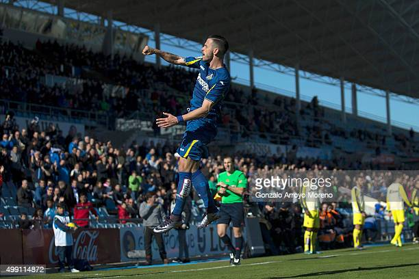 Alvaro Vazquez of Getafe CF celebrates scoring their second goal during the La Liga match between Getafe CF and Villareal CF at Coliseum Alfonso...