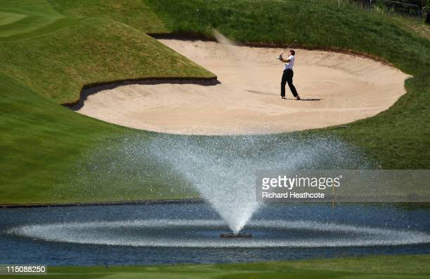Alvaro Velasco of Spain plays from a bunker on the 18th during the second round of the Saab Wales Open on the Twenty Ten course at The Celtic Manor...