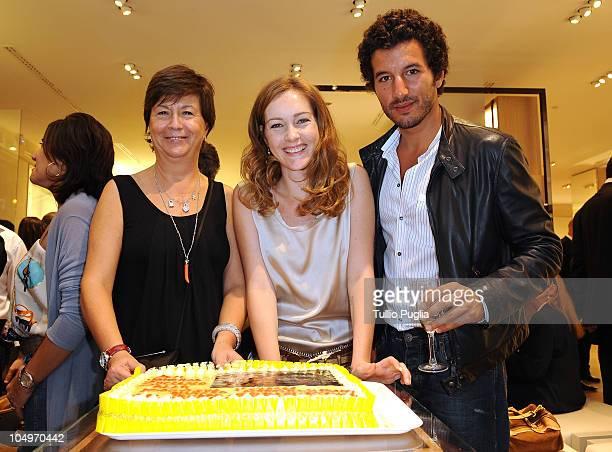 Alviero Martini CEO Antonella Memo actress Cristiana Capotondi and actor Francesco Scianna attend the Alviero Martini 1 Classe flagship store opening...