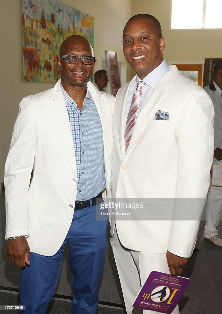 Alvin Adell, board member, Evidence, A Dance Company and James Nixson, Young Patrons Chair attend Evidence, A Dance Company Hosts 10th Annual 'On Our Toes'... In The Hamptons Summer Benefit at The Hayground School on August 17, 2013 in Bridgehampton, New York.
