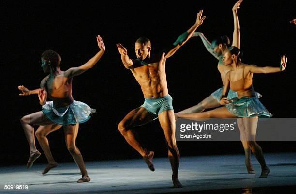 Alvin Ailey American Dance Theater dancers perform at the Alvin Ailey Dance Foundation gala benefit June 2 2004 at the Apollo Theater in New York City