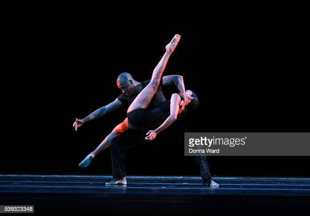 Alvin Ailey dancers perform during the Alvin Ailey American Dance Theater Dress Rehearsal of 'Deep' at Lincoln Center on June 10 2016 in New York City