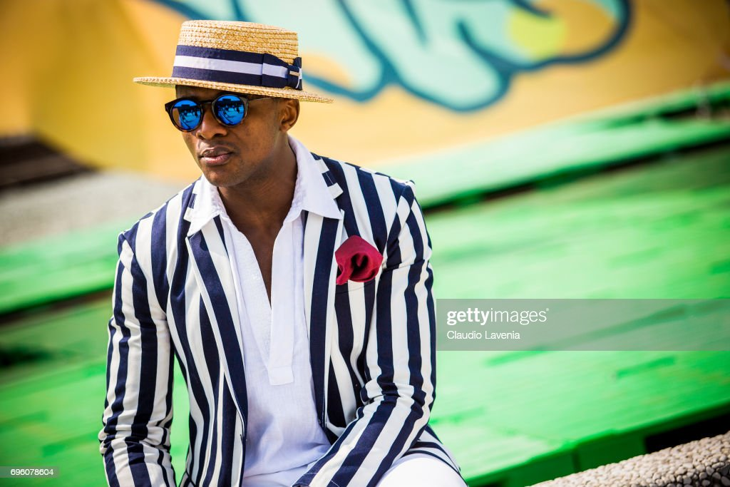 Alvin Alto is seen during Pitti Immagine Uomo 92. at Fortezza Da Basso on June 14, 2017 in Florence, Italy.