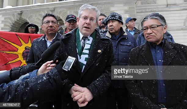 Alvin Fiddler deputy grand chief of Nishnabe Aki Nation Charlie Angus MP Timmins James Bay Andrew Wesley and Edmund Metatawabin both spokemen for St...