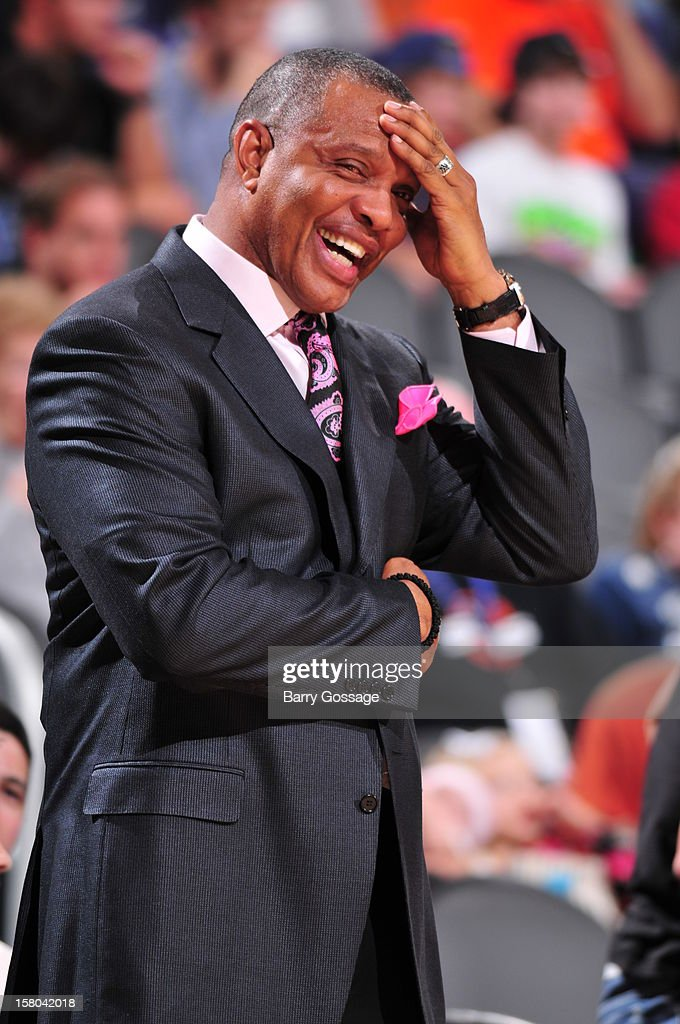 Alvin Gentry, head coach of the Phoenix Suns, has a laugh on the sidelines as the Suns host the Orlando Magic on December 9, 2012 at U.S. Airways Center in Phoenix, Arizona.