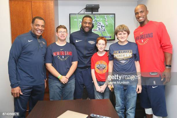 Alvin Gentry Tony Allen and Dante Cunningham of the New Orleans Pelicans participate in a game day experience with Ochsner Health System Hero of the...