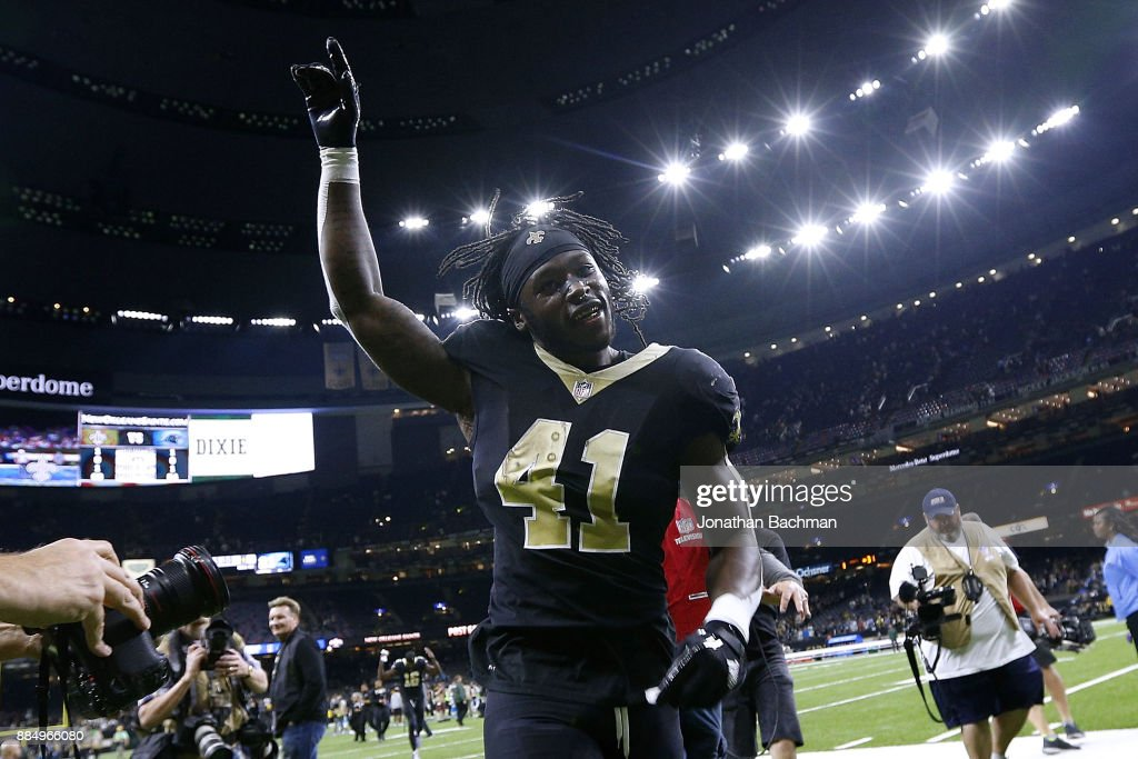 Alvin Kamara #41 of the New Orleans Saints celebrates after a game against the Carolina Panthers at the Mercedes-Benz Superdome on December 3, 2017 in New Orleans, Louisiana.