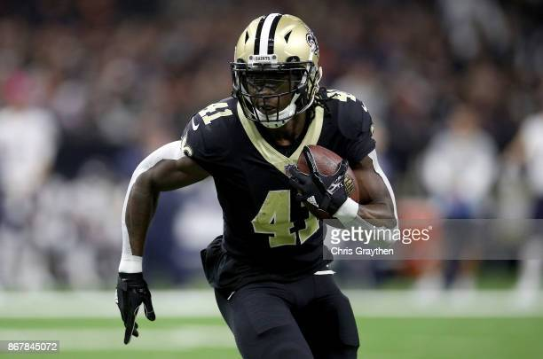 Alvin Kamara of the New Orleans Saints rushes the ball against the Chicago Bears during the first quarter at the MercedesBenz Superdome on October 29...